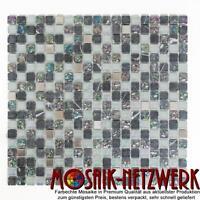Glas-/Natursteinmosaik/Edelstahl mix grau Fliesenspiegel Art: 92-0206 | 10Matten