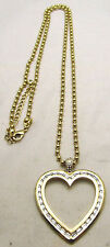 "Vintage 33+3"" 4mm Beaded Necklace w/Large Heart Pendant & Rhinestones Gold Tone"