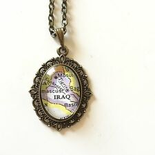 BAGHDAD MOSUL IRAQ WESTERN ASIA Map Pendant Vintage necklace vntg ATLAS
