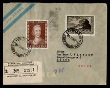 DR WHO 1953 ARGENTINA REGISTERED AIRMAIL TO SWITZERLAND EVA PERON f95242