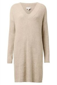 WITCHERY V Neck Sweater Knit Dress Flax Marle Beige Wool Alpaca RRP $150 Sz M