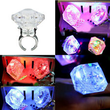 Colorful Flashing LED Light Glow Finger Jewelry Party Xmas Blinking Diamond Ring