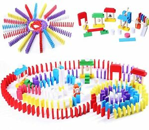 120pcs Coloured Wooden Tumbling Dominoes Games For Kids Childrens Fun Play Toy