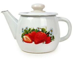1.1-Qt Enamel Brewing Teapot with Strawberry Print. Sturdy Durable Tea Pot