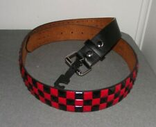 NWOT HOT TOPIC RED BLACK CHECK CHECKERED STUDDED LEATHER BELT L 38-40 GOTH PUNK