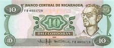 Nicaragua  10  Cordobas  1985  Series FB  Uncirculated Banknote J9