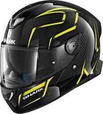 SHARK SKWAL 2 Luces LED Flynn Kya Motocicleta Cara Completa Casco-Negro/Amarillo