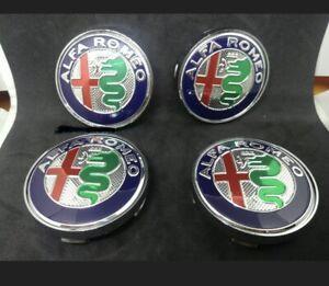 4 COPRIMOZZO FREGI ALFA ROMEO PER GIULIETTA MITO BRERA 159 CAPS TAPPI Silver60mm