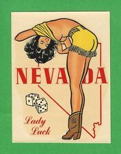 "VINTAGE ORIGINAL 1948 SOUVENIR ""MISS NEVADA"" LADY LUCK  PINUP TRAVEL DECAL ART"