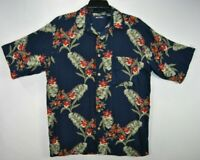 Puritan Mens M Hawaiian Shirt Blue Floral Short Sleeve Button Front Rayon EUC