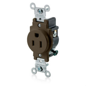 Leviton BROWN NEMA 5-15R 3-Wire Ground Single Outlet ROUND Receptacle 5015 NEW
