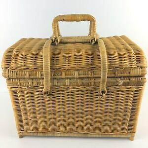 Vintage Wicker Picnic Basket w/ Folding Handles Removable Lid Medium Stain Wood