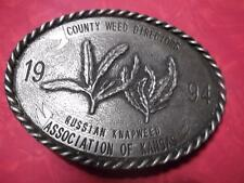 1994 County Weed Directors Association of Kansas Belt Buckle Russian Knapweed