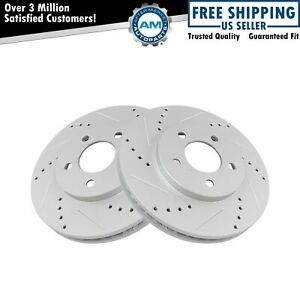 Performance Brake Rotor Drilled Slotted Front G-Coated Pair for Ford