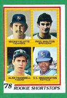 1978 TOPPS #707 PAUL MOLITOR RC BREWERS  ALAN TRAMMELL RC TIGERS  HOF x2  NM o/c