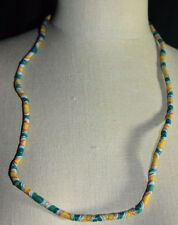 Vintage Green Yellow White Pink Swirl African Sand Cast Beads Craft or Wear