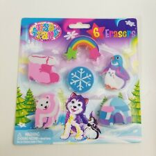NEW UNOPENED 6 PIECE PACKAGE OF LISA FRANK ERASERS COLLECTOR SET  RARE