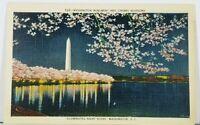 Washington  DC Illuminated Night Scene, Monument & Cherry Blossoms Postcard J12