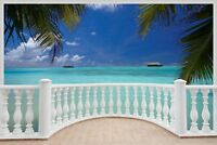 Huge 3D Balcony Exotic Beach Wall Stickers Mural Decal Wallpaper 483
