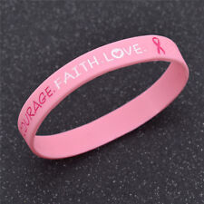 1 Pc Breast Cancer Awareness Bracelet Pink Silicone Wristband Fitness Bangles