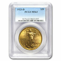 1923-D $20 Saint-Gaudens Gold Double Eagle MS-63 PCGS - SKU #80156