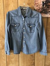 Womens Denim Blouse Shirt Jean / White Polka Dot Top Long Sleeve Button Down