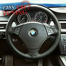 FOR BMW 1 SERIES 04+ BLACK REAL GENUINE LEATHER STEERING WHEEL COVER NEW