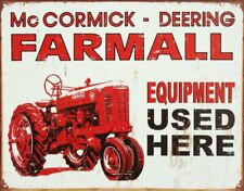 Farmall Tractor Equipment Here Tin Sign 13 X 16in