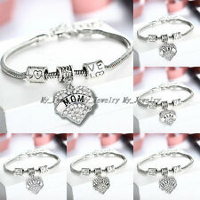 FAMILY XMAS GIFTS LOVE HEART CRYSTAL CHARM PENDANT BEADS SILVER BANGLE BRACELET
