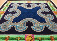 GIANNI VERSACE velvet fabric panel Leopard & Medusa print blue & green