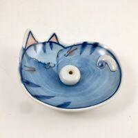 Japanese Incense Stick Cone Burner Stand Holder Ceramic Blue Cat w/ Crackle