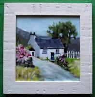 """THE MOUNTAIN COTTAGE 2 : FRAMED COLOURIST OIL PAINTING BY CAROL WEST  7"""" x 7"""""""