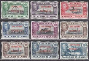 Falkland Islands Dependencies 1944 S Shetlands Overprint 6d x2 Set Mint SG D1-8
