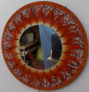 Mirror Sole Red Orange Flower-Shaped CMS 60 Made IN Mosaic Of Glass And MDF Moon