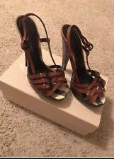 New Auth Burberry Nova Check Plaid Willough Women Leather Shoes Sandals 9.5 $650