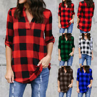 Retro Womens Plaid Checks Long Sleeve Shirt Dress Loose Blouse Tunic Tops Casual