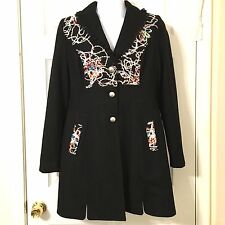 Papillon Black Wool Blend Embroidered Lace Coat Jacket Boho Steampunk - Small