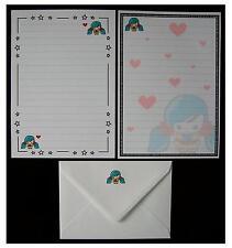 NUOVO design Carino Kawaii Blu-Verde Capelli Ragazza Lettera Set Cancelleria Carta da SCRIVERE