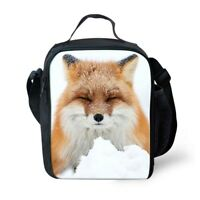 Insulated Lunch Box Fox Designs Cooler Bento Bags School Picnic Storage Totes