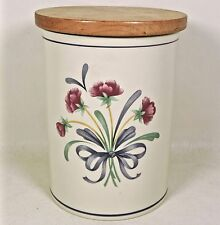 """Lenox POPPIES ON BLUE Chinastone 7"""" Large Canister & Wood Lid- Minty!"""