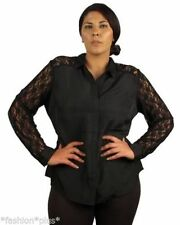 Polyester Long Sleeve Plus Size Button Down Shirts for Women