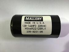 120-144uf MSA4R22120R Mallory Motor Start Capacitor 220VAC suit 240V AC motors
