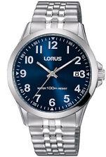 LORUS MEN'S 38MM STEEL BRACELET & CASE QUARTZ BLUE DIAL ANALOG WATCH RS973CX9