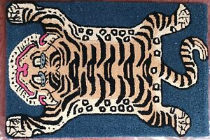 Tibetan Tiger Rug With 100% Woolen, 2x3 feet for Home Décor Green Color