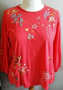 """NEW WITH TAGS! JOHNNY WAS """"Maris"""" Embroidered Knit Top-Misses XL-Red"""
