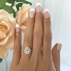 D/VVS1 Accented Engagement Ring 2.50 Carat Pear Cut Diamond 14K Rose Gold Finish