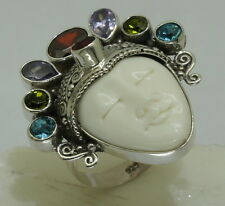 c Handmade Bali Goddess Gemstone bone Ring (Adjustable) in 925 Sterling Silver
