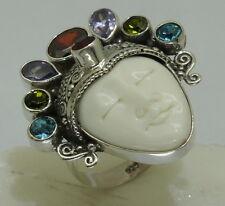 z Handmade Bali Goddess Gemstone bone Ring (Adjustable) in 925 Sterling Silver