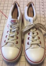 Levis Canvas Sneakers Mens 9.5 Shoes White Red Eyelits Leather Accent Casual