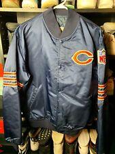 Vintage 80s Chicago Bears Starter Jacket Men's XL Satin Pro Line Navy Blue NFL